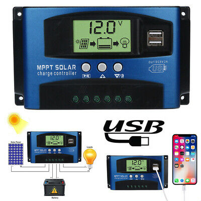 1x100A MPPT Solar Panel Regulator Charge Controller 12V/24V Auto Focus Tracking