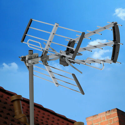 100Mile HDTV 1080P Outdoor Amplified TV Antenna UHF VHF Digital with 10m Cable