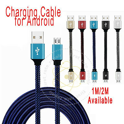 USB Fast Charger Charging Cable Data Sync For Android Samsung Nylon 1M/2M CA