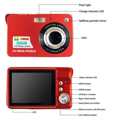 "2.7 ""HD 720P 18MP 8x Fotocamera digitale zoom TFT LCD Video Camcorder DV Rosso"