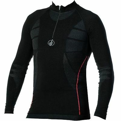Carbon Energized Motorcycle Long Sleeve Top With Zip Underwear Base Layer Black