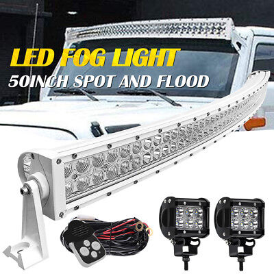 50inch Curved Off Road 288W CREE LED Light Bar Chevy GMC 14-15 RELAY+Bracket**/&@