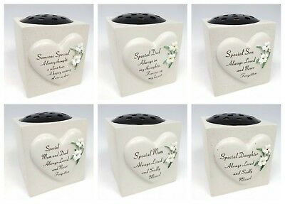 Memorial Graveside Lily Flower Heart Bowl Pot With Verse Funeral Rip Ornament