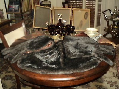 1900s ANTIQUE FRENCH VICTORIAN FUR SHAWL STOLE DARK BROWN*VERY LONG 1m 84cm