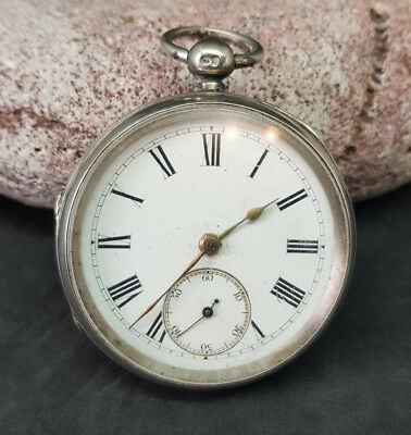 Antique Solid Silver Fusee Pocket Watch White Dial Spare Only