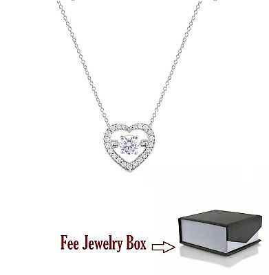 """14k White Gold Over Heart .75 CT Round Cut Dancing Diamond Pendant Necklace 18"""""""