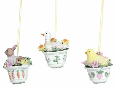 3 x Gisela Graham Hanging Easter Decorations Spring Bunny Duck Chick Flower Pots
