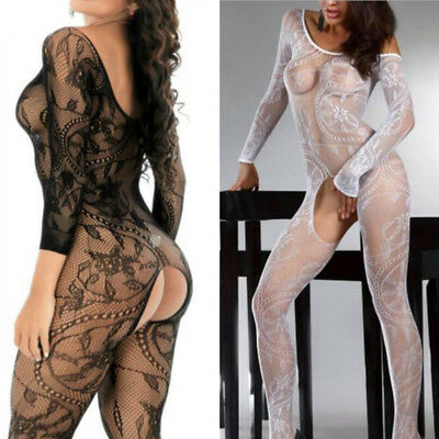 Womens Stretchy Sexy Lingerie Lace Mesh Crotchless Full Body Stocking Bodysuit