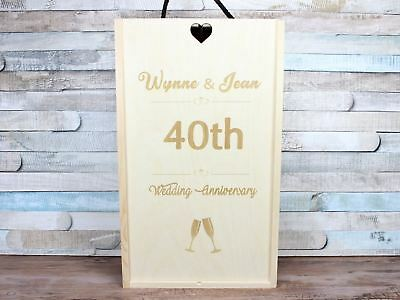 Personalised Wooden Anniversary Wine Gift Box 25th 30th 40th Double / 2 Bottles