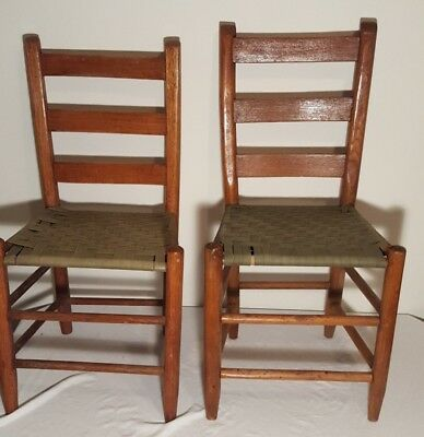 Two Antique Ladderback Chairs Ladder Back Chair Woven Seat Solid Oak