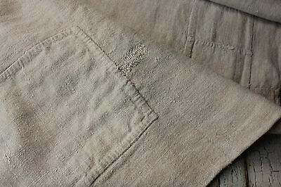 GRAIN SACK Antique French olive bag early 18th C  PRIMITIVE TIMEWORN OLD