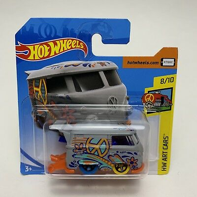 Hotwheels Kool Kombi Grey HW Art Cars 8/10 2018 A Short Card HW VW Toy Car - New