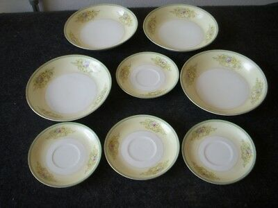 Meito Fine China Handpainted Made In Japan 4 Saucers, 4 Salad/Soup/Dessert Bowls