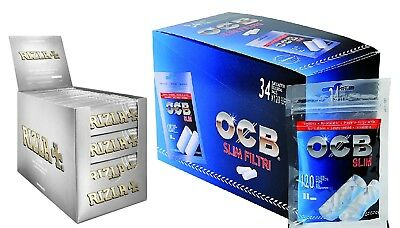 4080 Filtri OCB Slim 6mm 34 BUSTINE 1 Box + 5000 Cartine RIZLA SILVER CORTE 1Box
