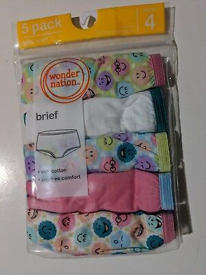 Girls Wonder Nation 5 pack Brief Panties soft cotton tag free size 4
