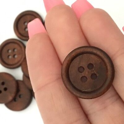 10 pcs 20mm dark brown round 4 hole wooden buttons sewing supplies