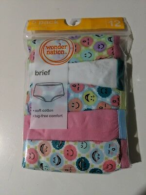 Girls Wonder Nation 5 pack Brief Panties soft cotton tag free size 12