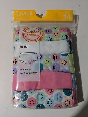 Girls Wonder Nation 5 pack Brief Panties soft cotton tag free size 14