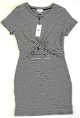7ade6fd97b7 Socialite Striped T Shirt Dress Knot Front Cutout Black and White Large