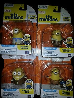 New Minions Despicable Me Poseable Movie Exclusive Lot of 4