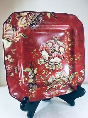 "222 Fifth China Pattern Gabrielle Red 6 1/4"" Square Appetizer Plate NEW"