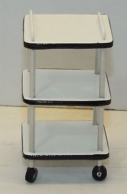 Dollhouse miniature handcrafted Medical square table cart white 1/12th scale