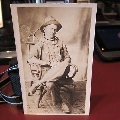 Antique Real Photo Postcard Of A Cowboy Late 1800's To Early 1900's Uncirculated