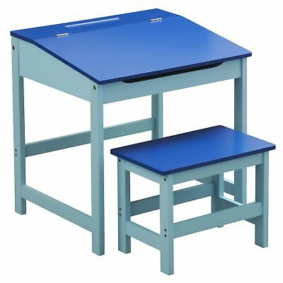 Childrens Blue Desk and Stool - Traditional Old Fashioned Kids School Desk