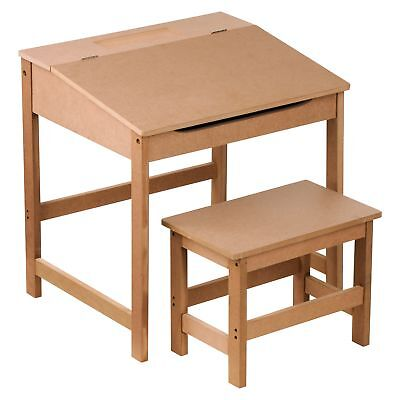 Childrens Natural Desk and Stool - Traditional Old Fashioned Kids School Desk