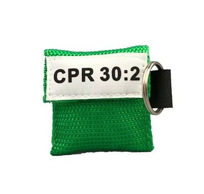 5 Green CPR Mask with Keychain - Face Shield with GLOVES