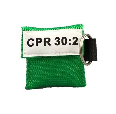 100 Green CPR Mask Keychain with GLOVES - CPR 30:2 Face Shield