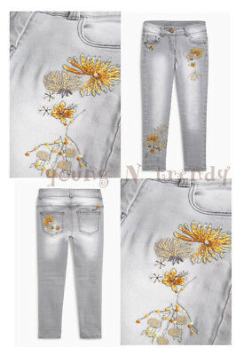 BNWT NEXT  7*10*11 years girls FLORAL*EMBROIDERED GREY SKINNY JEANS *SPRING!!!