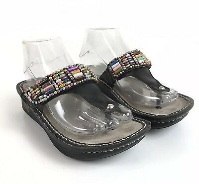 a9534501490c6 Alegria Carina Bead Party Flip Flop Thong Sandals Size 36 US 6.5 Black  Leather