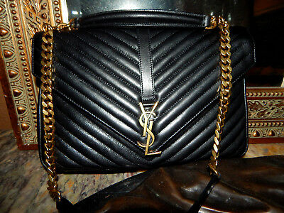 6b50cabc7c58 Authentic Ysl Yves Saint Laurent Large College Bag Black With Gold Hardware
