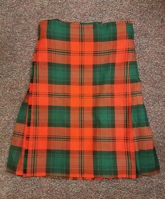 "Ex-Hire Heavy Weight 8 Yard Kilt Hand Made Highland Red Tartan,  Size 27""- 31"""