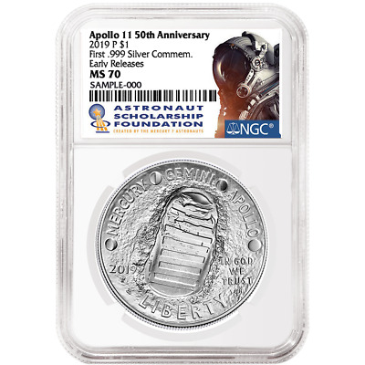 2019-P UNC $1 Apollo 11 50th Ann Silver Dollar NGC MS70 ASF ER Label