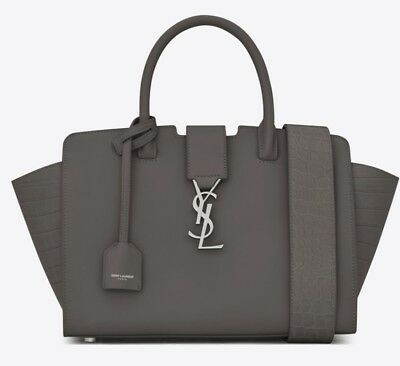 b18b8b8288 **Saint Laurent Downtown Baby Cabas In Smooth And Crocodile Embossed  Leather**
