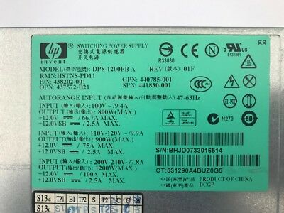 Hp Dps-1200Fb 1200W Power Supply Psu, Hstns-Pd11, P/n 438202-001 For Dl580 G5