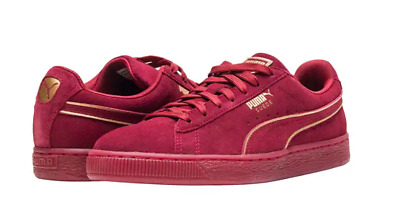 buy popular 7a38b b2caa 9.5 PUMA SUEDE Foil FS 366096-03 Sneaker Shoe NEW Red Casual Burgundy Gold  Gum