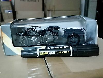 1//24 Atlas Motorcycle Sidecar Diecast WWII BMW R75 Panzerfaust 30 Autocyle Model