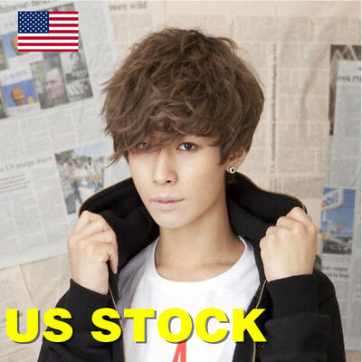 690d017e747 Hot New Men Handsome Boys Wig Korean Fashion Short Men Hair Cosplay Full  Wigs