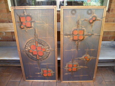 Pair 70s Vintage Retro Abstract Copper Wall Art Hangings Metal Work Signed