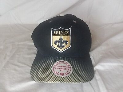 0c0cf2b1a71 NFL New Orleans Saints Mitchell   Ness Vintage Throwback Logo Cap Hat  Adjustable