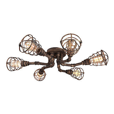 Vintage Antique Brass 6 Light Wire Guard Cage LED Semi Flush Mount Ceiling Light