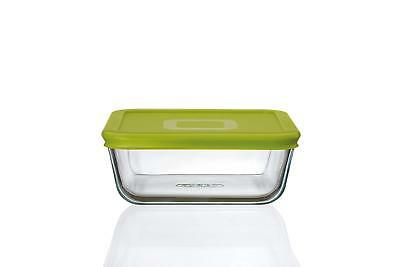 Square Glass Hygienic Non-porous  Microwave Safe Dish With Seal-able Green Lid