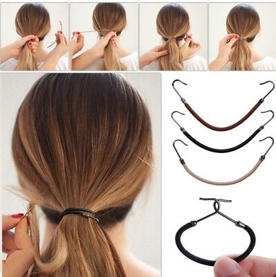 4 Bungee Stretch Elastic Hook Hair Ties THICK HAIR Bands Girls Women **see note