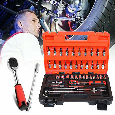 "46 Pieces Tools 1/4""Sockets Drive Socket Set Ratchet Driver Case Tool Kit UK"