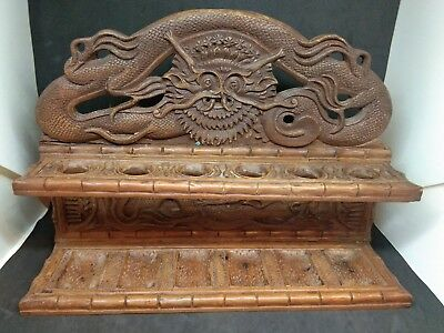 1900's Chinese Wooden Carved Pipe Stand Dragon