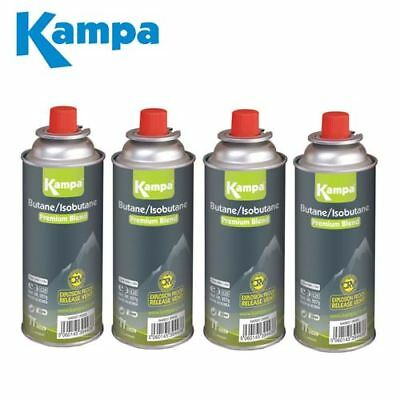 4 X Kampa Butane Gas Resealable Camping Self-Sealing Gas Cartridges 227g