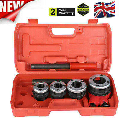 6PC Manual 4 Threading Dies Pipe Cutter & Wrenches Threader Kit Ratchet Head B